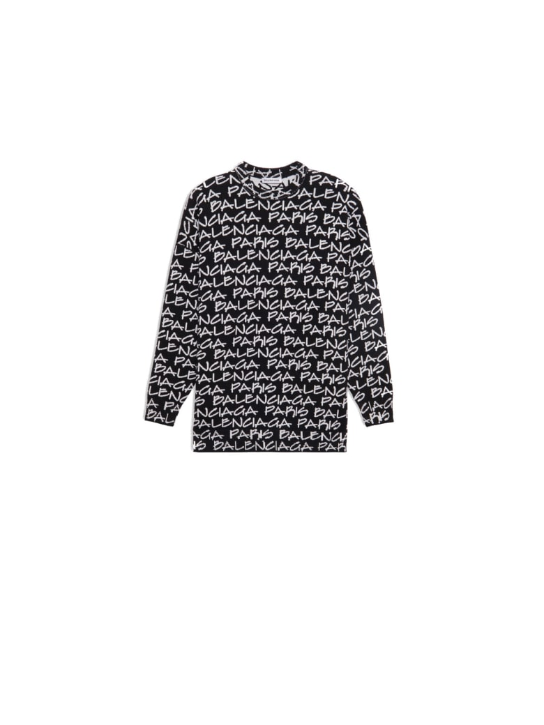 Balenciaga L/s Logo Crewneck Sweater - Black White