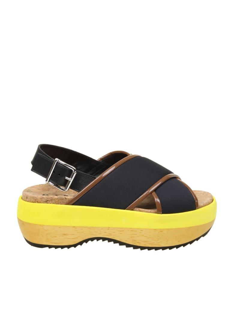 Marni Sandal In Technical Fabric Color Black - Black