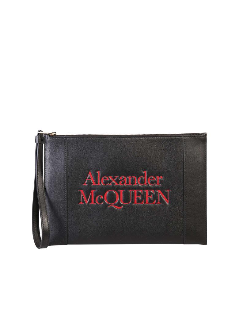 Alexander McQueen Logo-print Zip Clutch - Nero