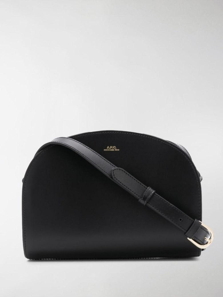 A.P.C. Leather Demi-lune Crossbody Bag - Black