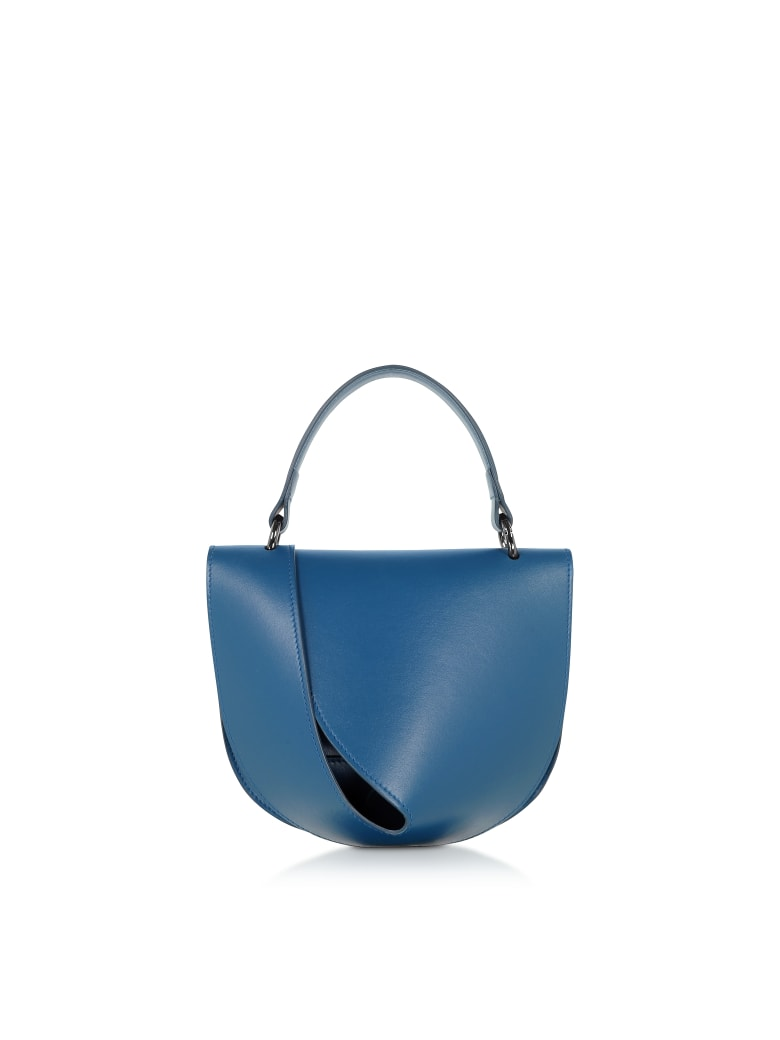 Giaquinto Petrol Blue Leather Candy Saddle Shoulder Bag - Blue