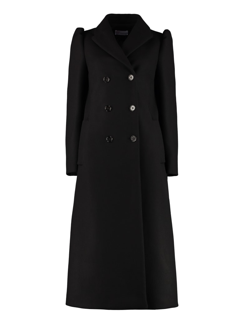 RED Valentino Wool Blend Double-breasted Coat - black