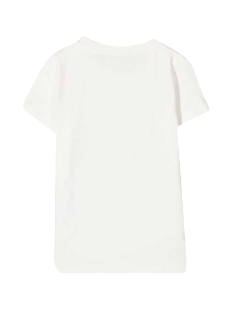 Young Versace White T-shirt With Golden Print - Bianco/oro
