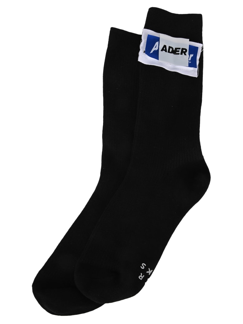 Ader Error Logo Patch Socks - BLACK