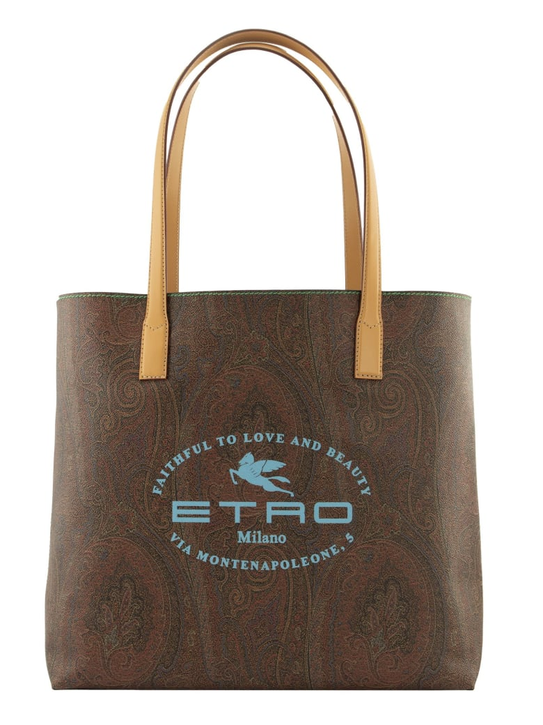 Etro Large Paisley Tote Bag With Etro Logo Print - Brown