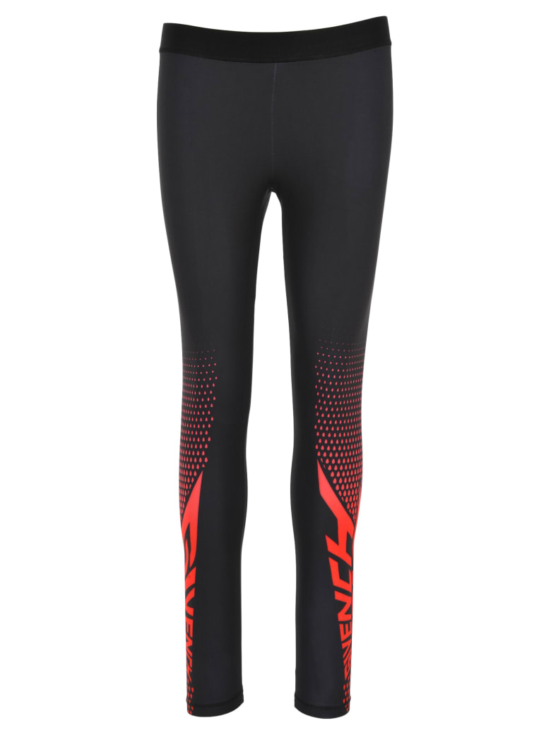 Givenchy Logo Print Leggings - BLACK + RED