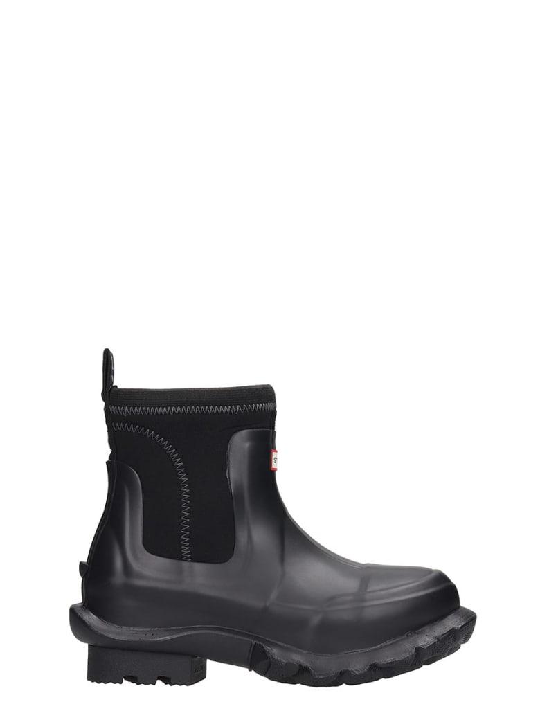 Hunter Low Heels Ankle Boots In Black Rubber/plasic - black