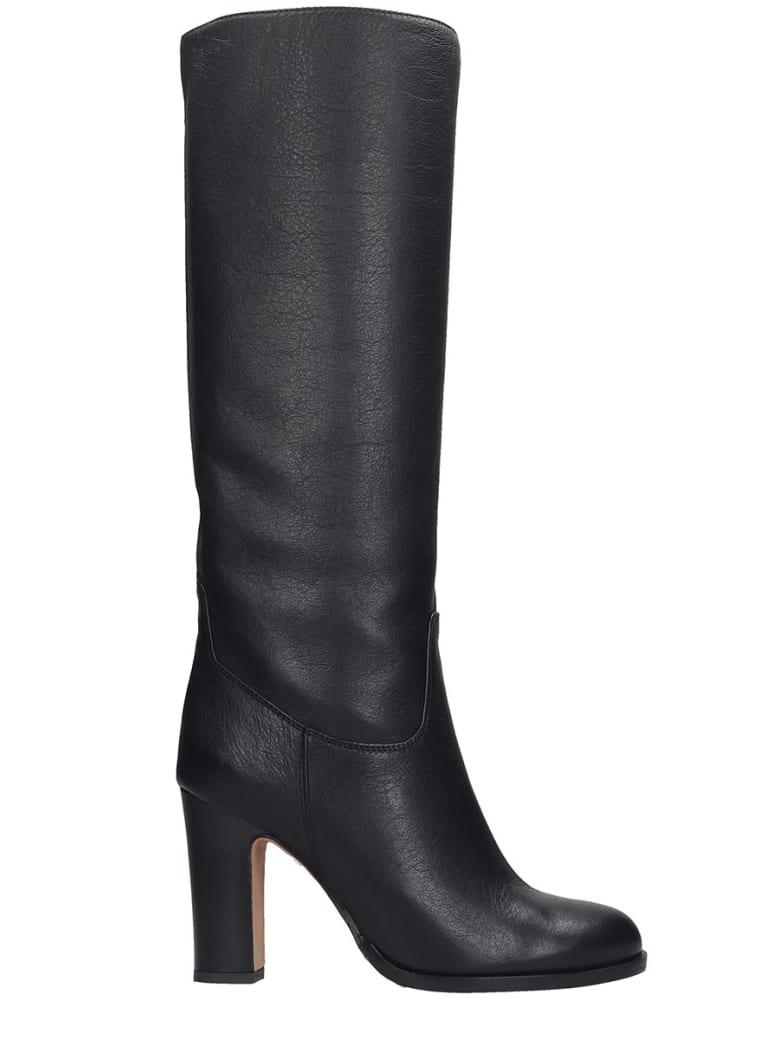 Julie Dee High Heels Boots In Black Leather - black