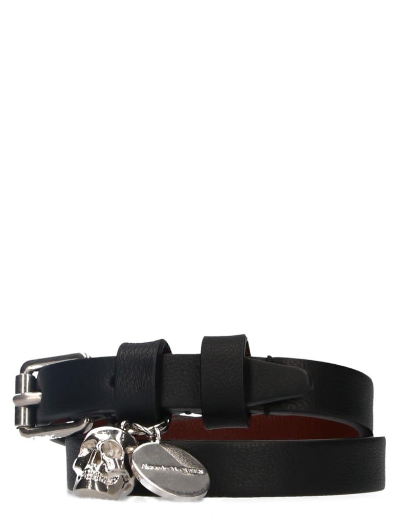 Alexander McQueen 'double Wrap Skull' Bracelet - Black