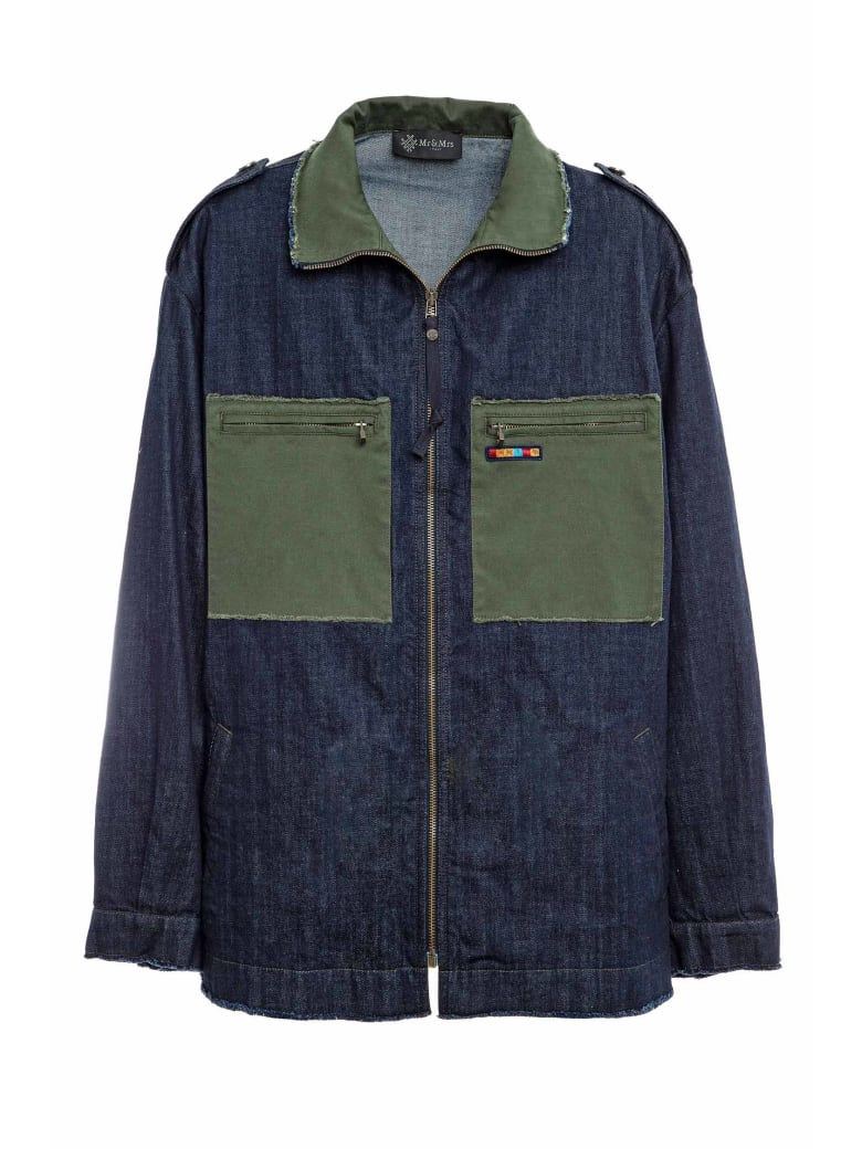 Mr & Mrs Italy Denim And Cottoncavalry Work Jacket For Man - JUNGLE GREEN/BLUE DENIM