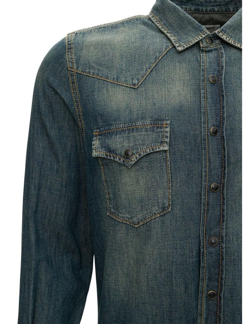 Saint Laurent Western Shirt In Denim - Light blue