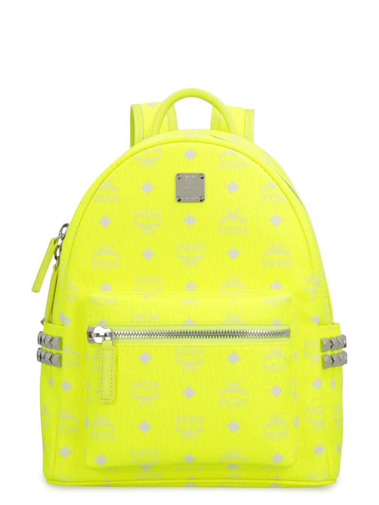 MCM Stark Neon Visetos Backpack With Studs - Yellow