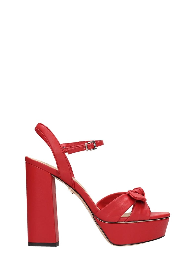 Lola Cruz Red Leather Sandals - red