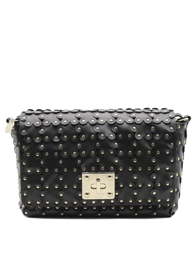 RED Valentino Flower Puzzle Black Leather Shoulder Bag - Black
