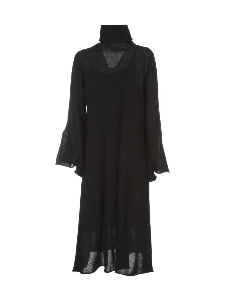 Liviana Conti Wool Long Dress L/s High Neck W/slit - Nero