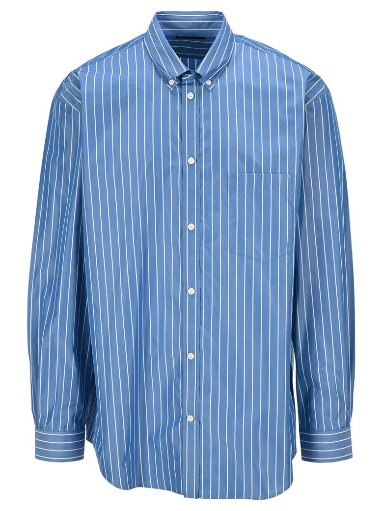 Balenciaga Logo Striped Shirt - BLUE+WHITE
