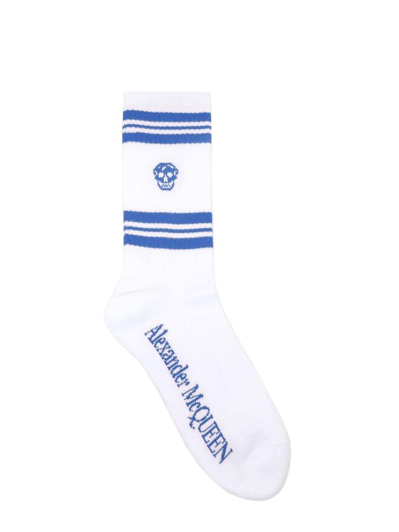 Alexander McQueen Socks Stripe Skull Sport - Blue