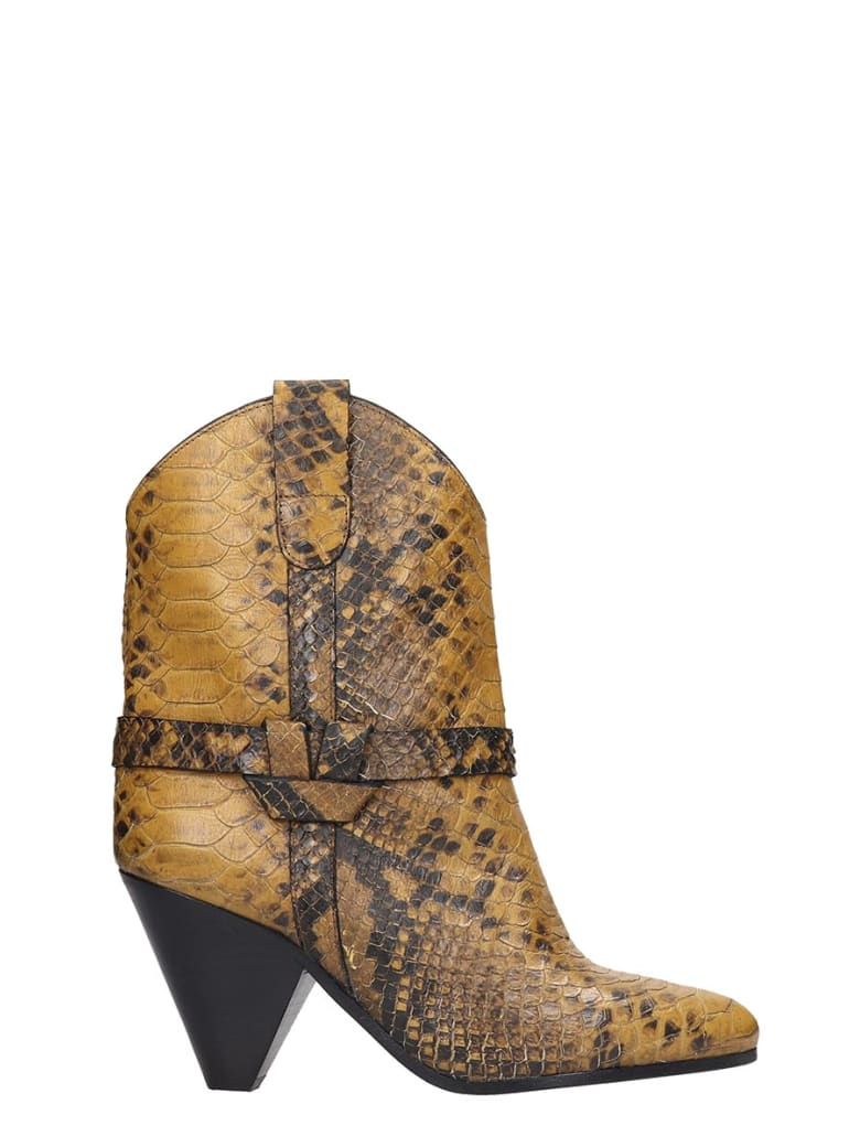Isabel Marant Deane High Heels Ankle Boots In Yellow Leather - yellow
