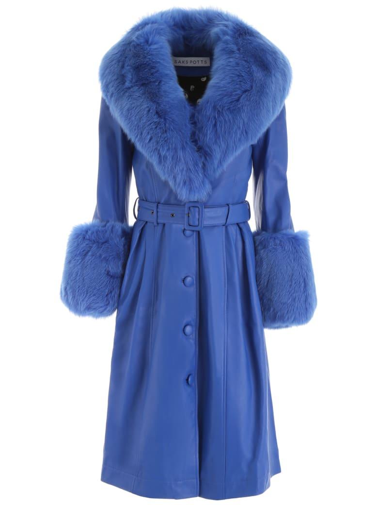 Saks Potts Leather Foxy Coat - STRONG BLUE (Blue)