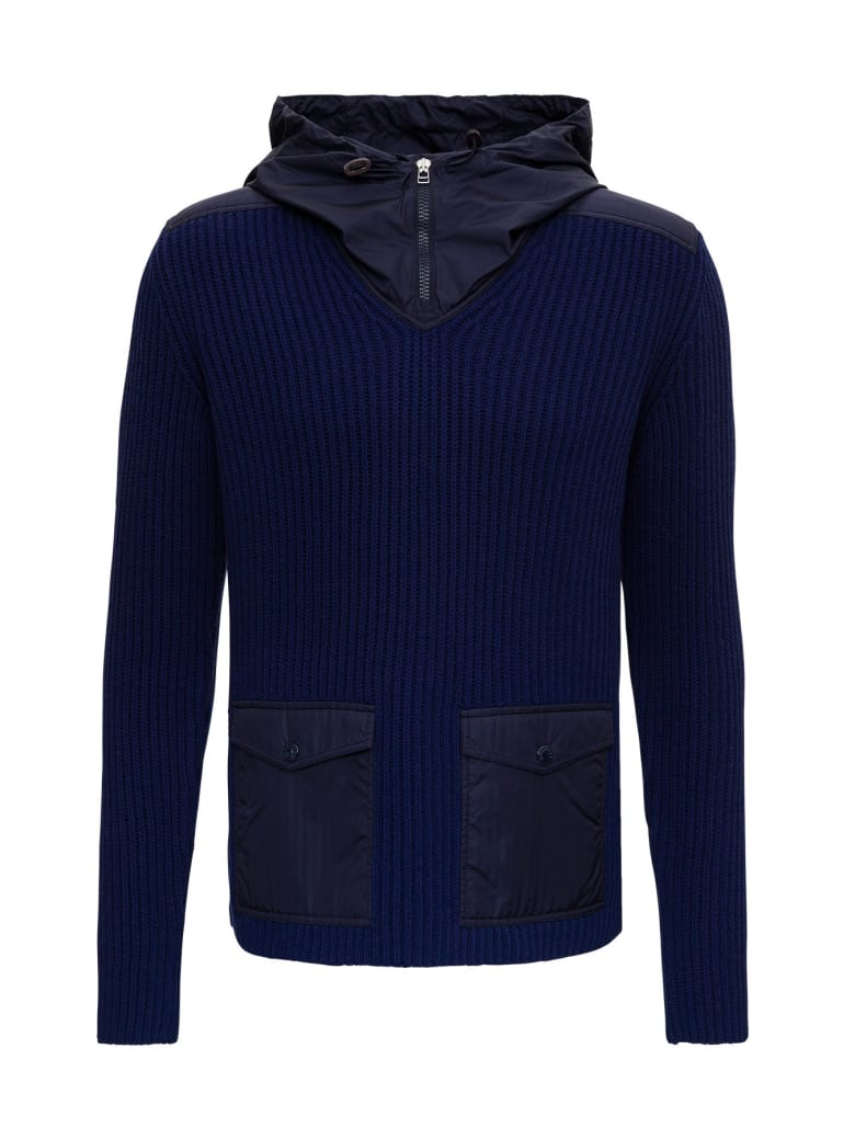 Moncler Hybryd Hooded Sweater In Nylon And Wool By Jw Anderson - Blu