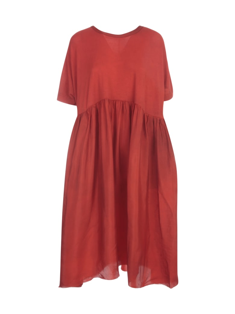 Uma Wang Dana Oversized L/s Crew Neck Long Dress - Spicy red