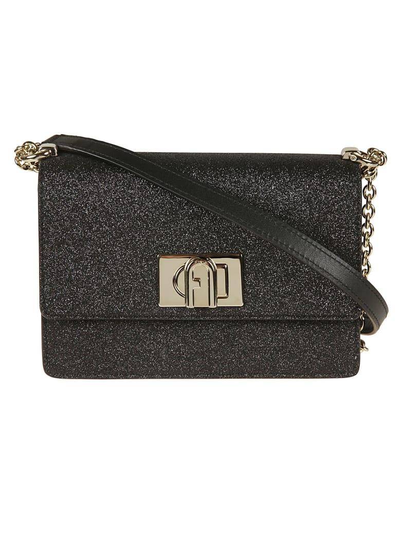 Furla Glitter Applique Flap Shoulder Bag - Black