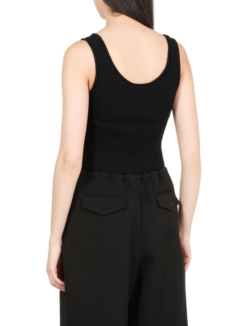 3.1 Phillip Lim Merino Wool Cropped Top - BLACK