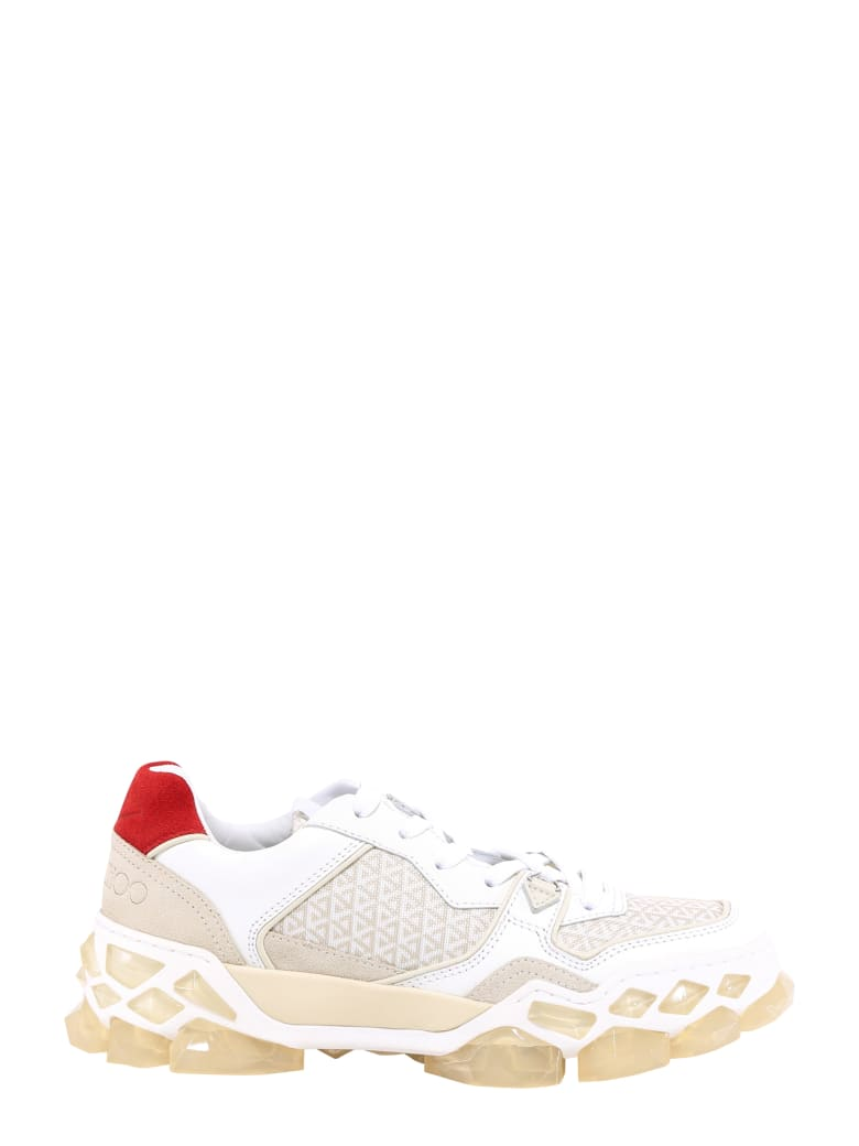Jimmy Choo Lace-up Sneakers With Ribbon - White