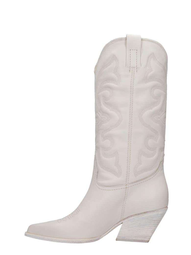 Elena Iachi Texan Boots In White Leather - white