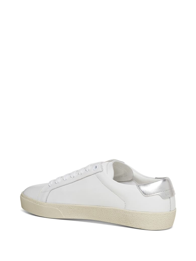 Saint Laurent Court Classic Sl / 06 Sneaker In Leather With Metallic Logo - Bianco