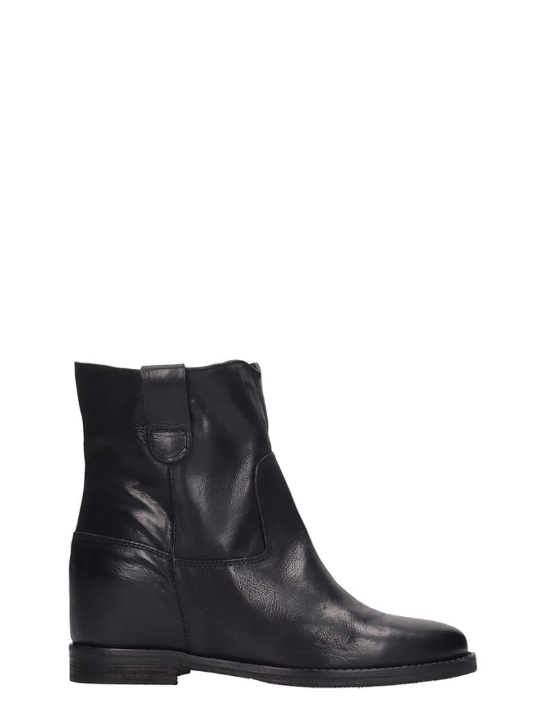 Julie Dee Ankle Boots In Black Leather - black