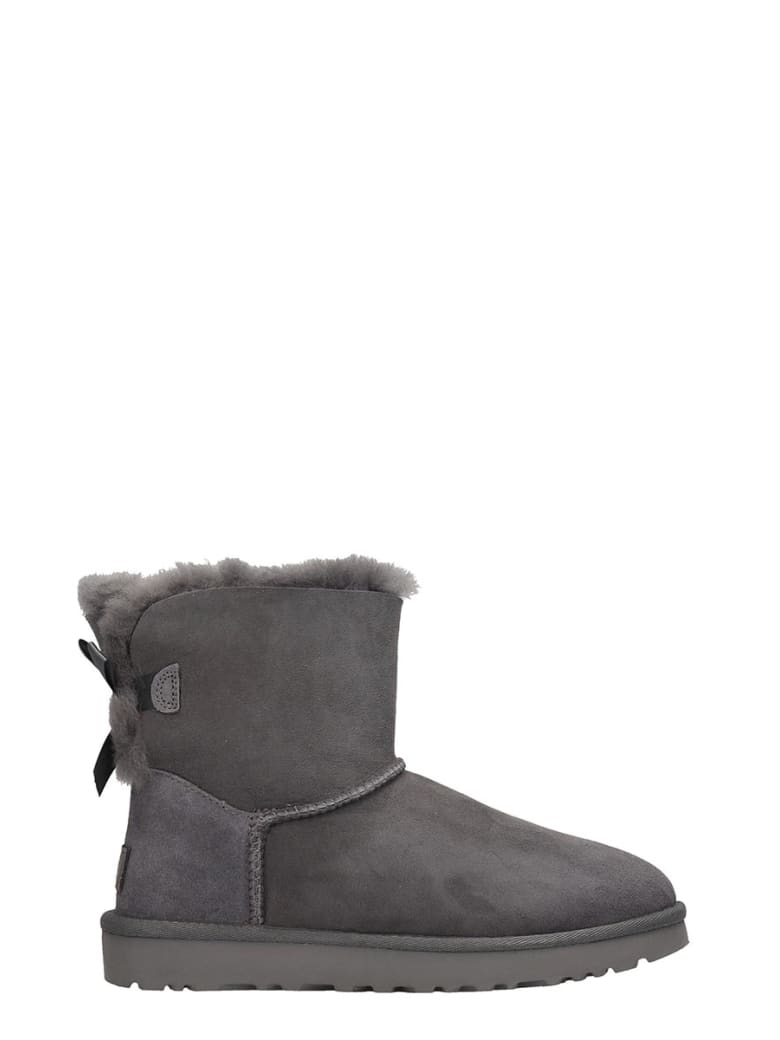 UGG Mini Bailey Bow Low Heels Ankle Boots In Grey Suede - grey