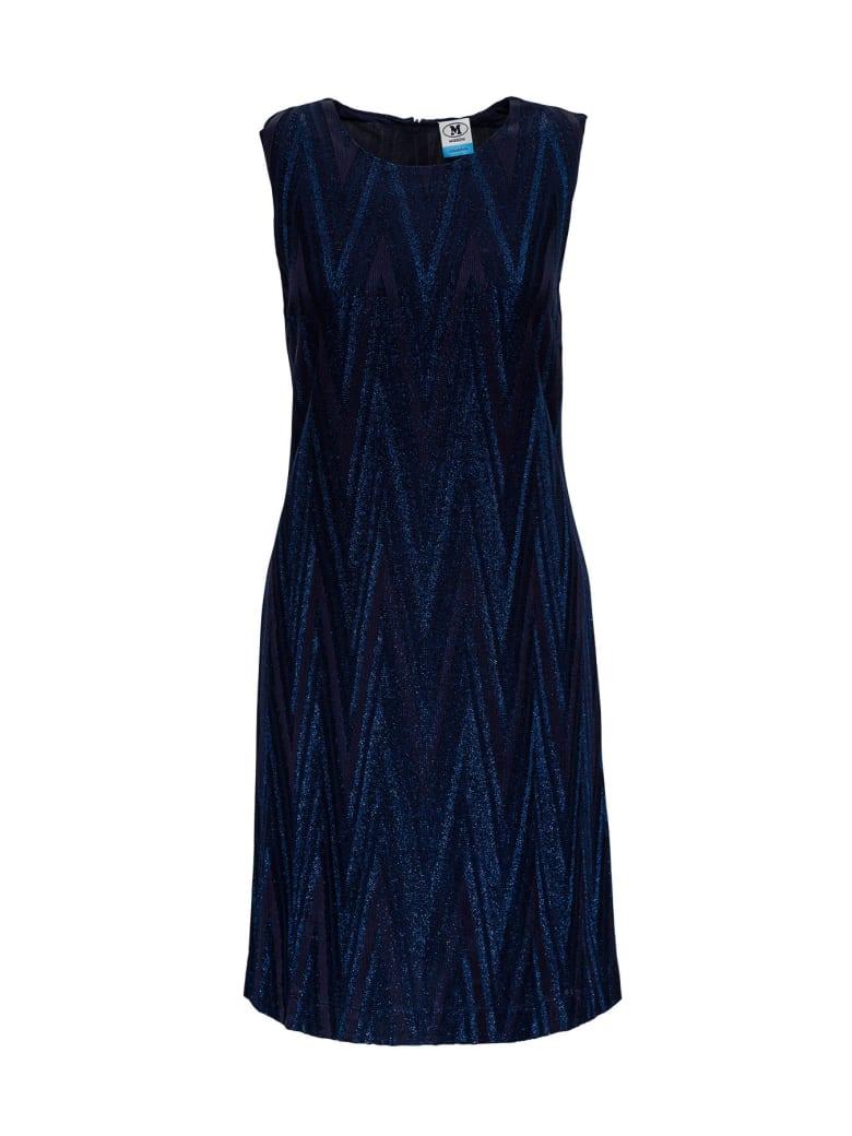 M Missoni Sheath Dress In Lurex Jersey With Chwvron Pattern - Blu