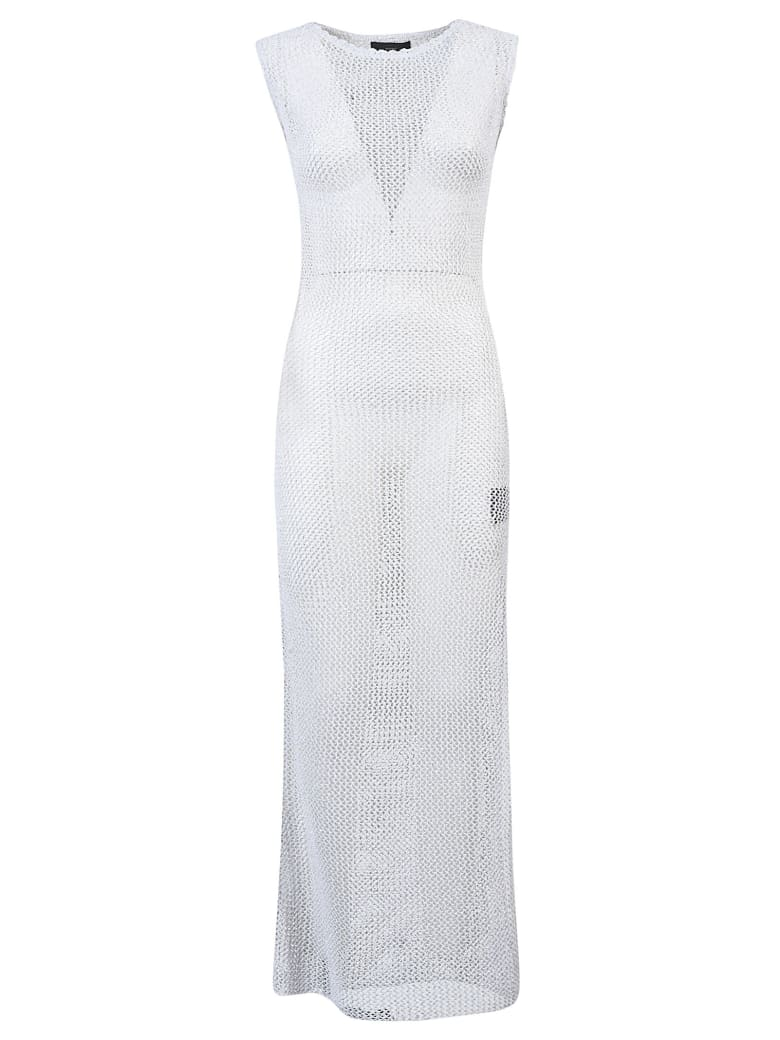 Alanui Sequined Net Long Knit Dress - Bright White