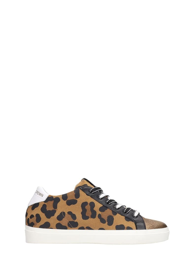 Leather Crown Sneakers In Bronze Tech/synthetic - bronze