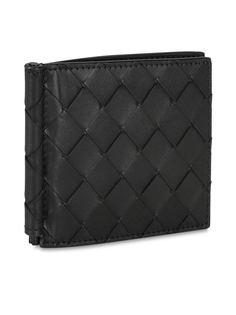 Bottega Veneta No Coin Wallet Calf - Black Silver