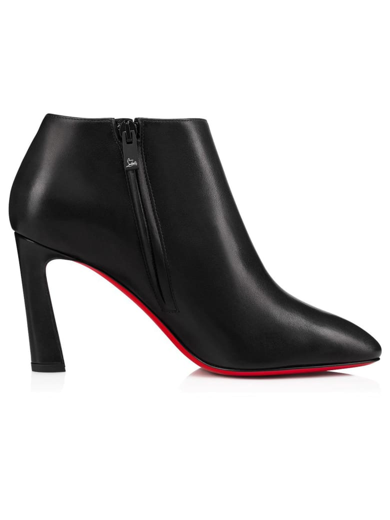 Christian Louboutin Black Leather Eleonor 85 Ankle Boots - BLACK