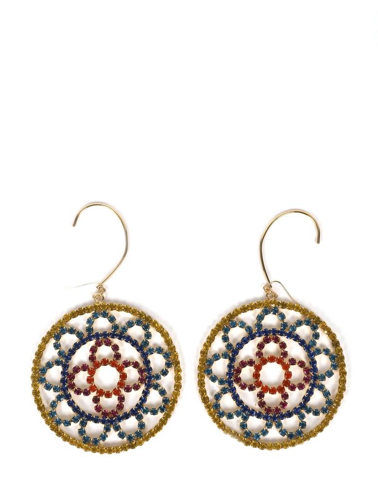 AREA Multicoloured Crystal Crochet Earrings - ORO CRISTALLO MULTI