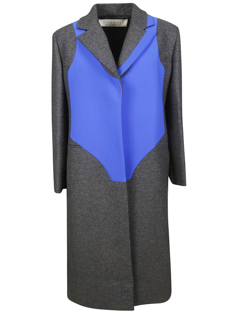 Nina Ricci Concealed Coat - Antracite/blu