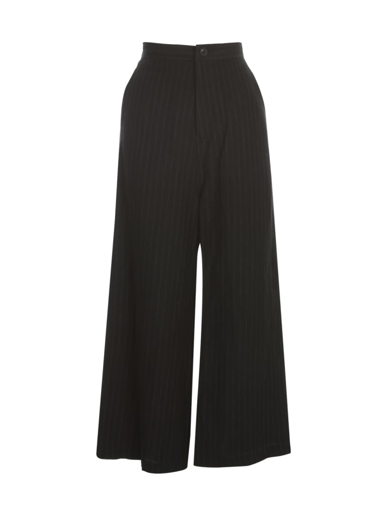 Y's O Straight Thick Pants Pinstripe - Black