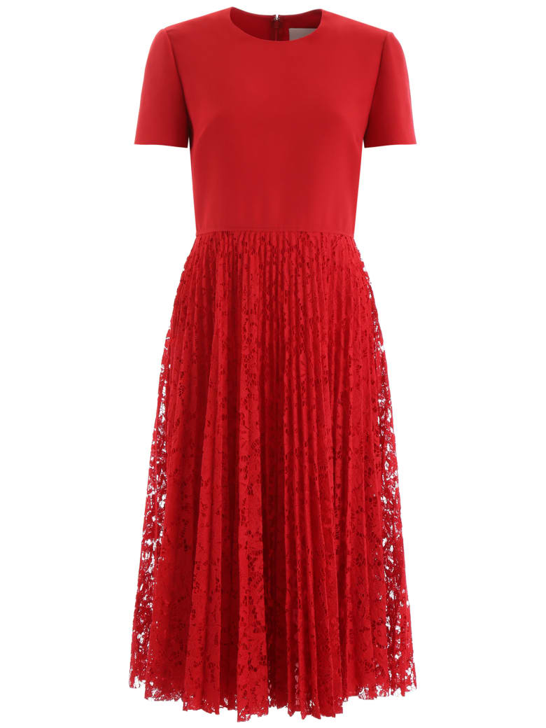 Valentino Midi Dress With Lace Skirt - ROSSO (Red)