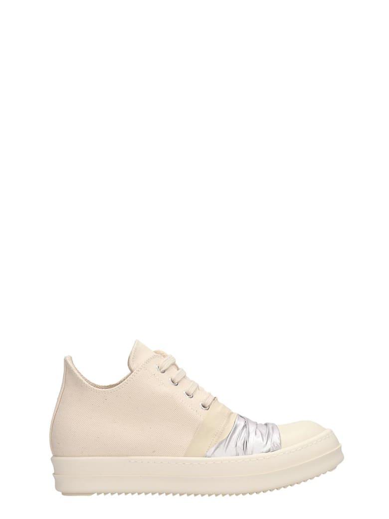 DRKSHDW White Fabric Low Sneakers - beige