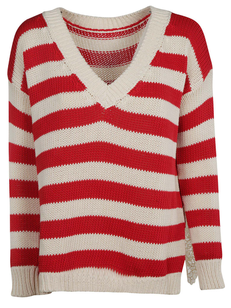 Ermanno Scervino Striped Knit Sweater - red