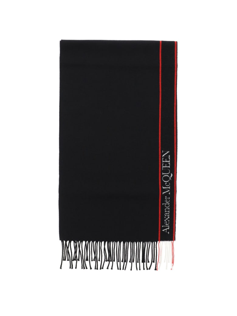 Alexander McQueen Scarf With Logo - Nero