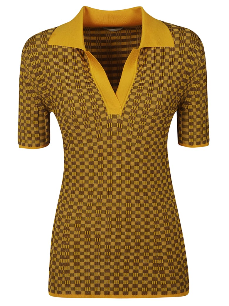 Fendi Checked Polo Shirt - Yellow/Brown