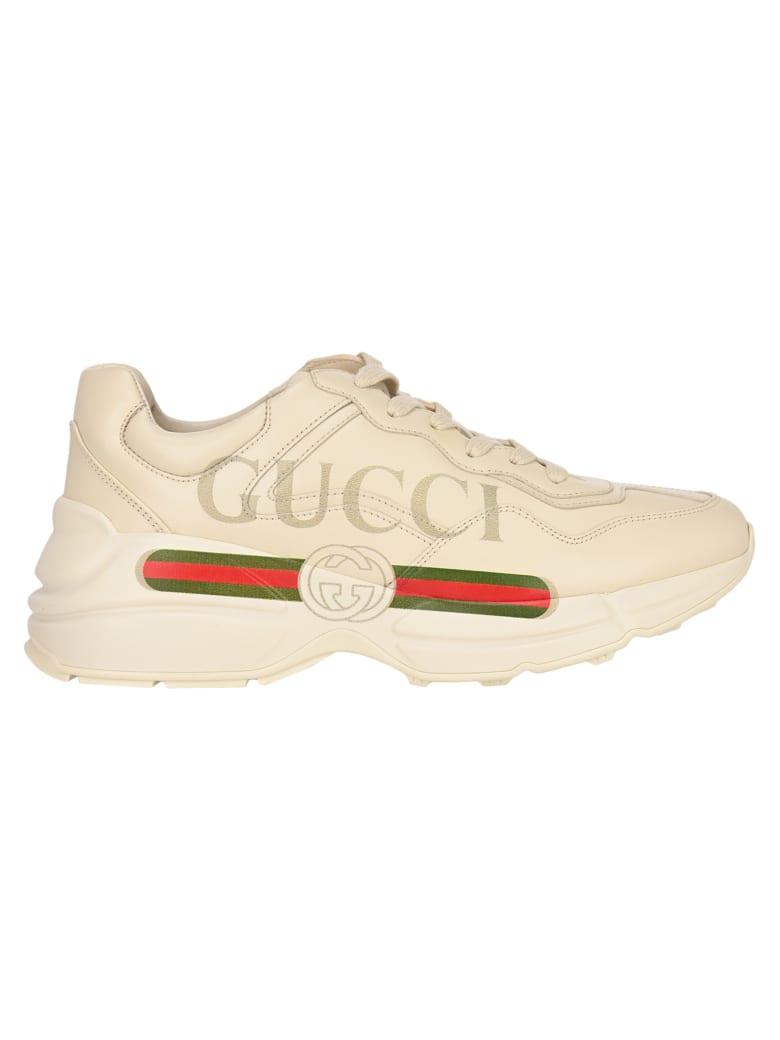 Gucci Rhyton Logo Leather Sneakers - Bianco