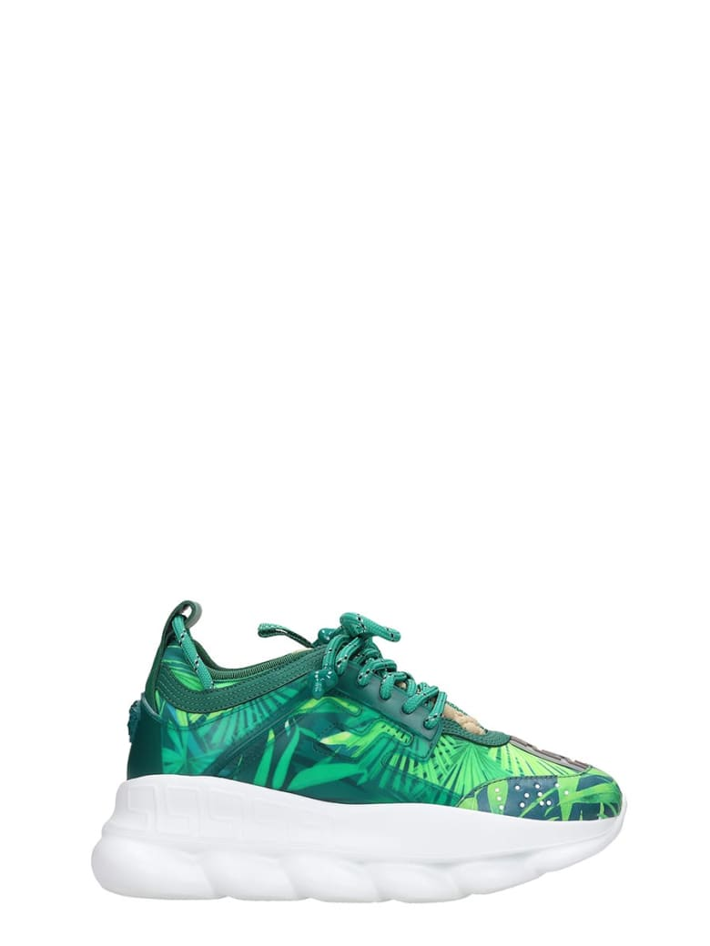 Versace Chain Reaction Sneakers In Green Tech/synthetic - green