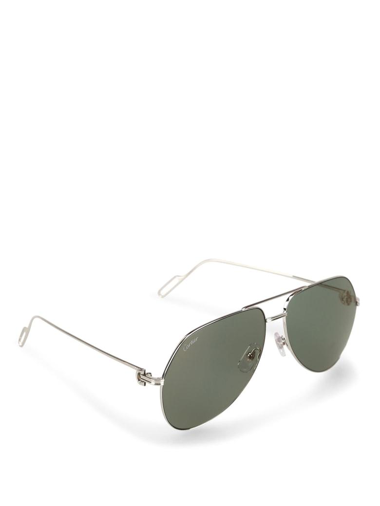 Cartier Eyewear CT0110S Sunglasses - -silver-silver-green
