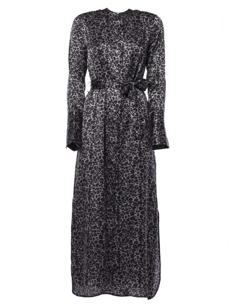 Equipment Leopard Print Maxi Dress - Black/Grey