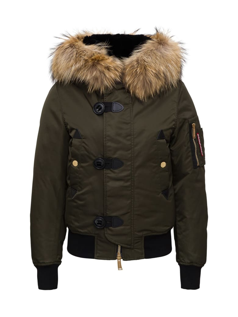 Dsquared2 Fur Hooded Jacket In Nylon - Green